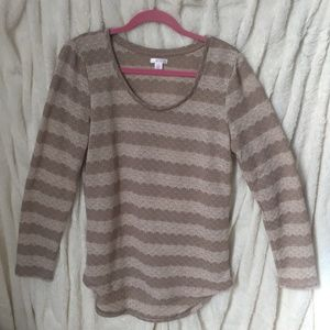 xhiliaration Light Sweater Taupe Cream Long Sleeve